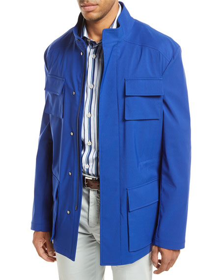 Kiton Safari Four-Pocket Coat, Blue