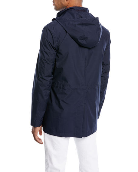 Zip-Front Jacket with Pack-Away Hood