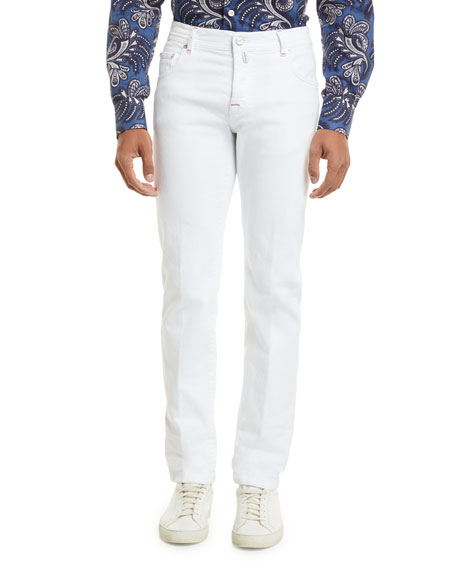Kiton Denim Five-Pocket Jeans, White