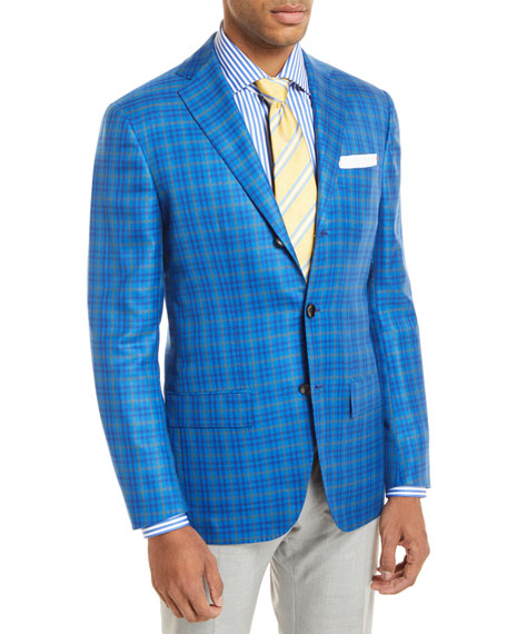 Kiton Check 3-Button Sport Coat