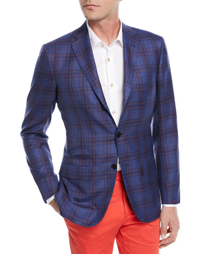 Cashmere-Silk Plaid Sport Coat