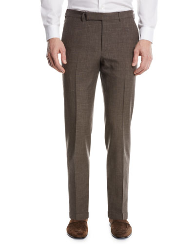 Wool-Blend Flat-Front Trousers