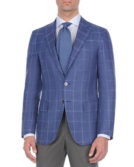 Isaia Windowpane Plaid Wool-Blend Sport Coat