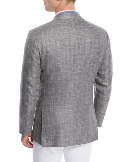 Men's Textured Weave Three-Button Blazer