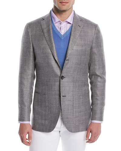 Men's Textured Weave Three-Button Blazer
