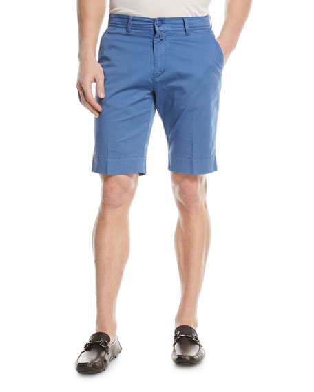 Kiton Washed Twill Slim-Straight Shorts