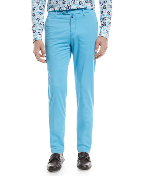Kiton Flat-Front Chino Pants, Aqua Blue