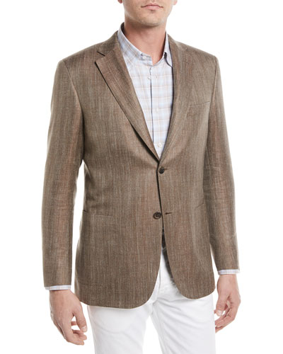 Wool/Silk/Linen Herringbone Blazer