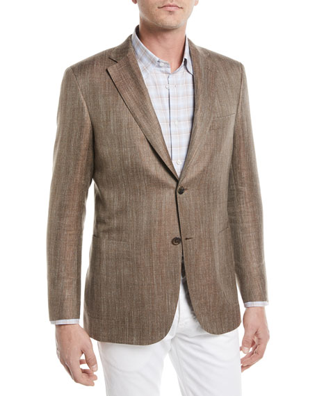 Brioni Wool/Silk/Linen Herringbone Blazer