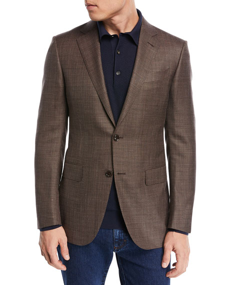 Ermenegildo Zegna Textured Wool Triblend Blazer, Brown