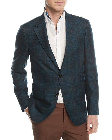 Textured Check Cashmere Hemp Sport Coat