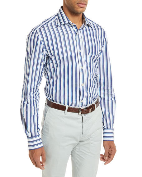 Multi-Stripe Long-Sleeve Shirt, Blue