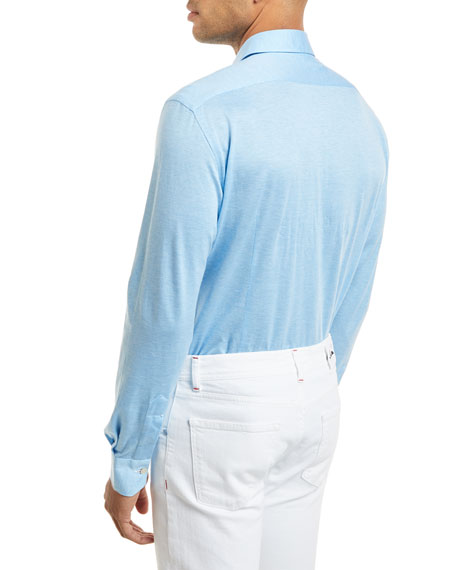 Woven Long-Sleeve Knit Shirt, Light Blue