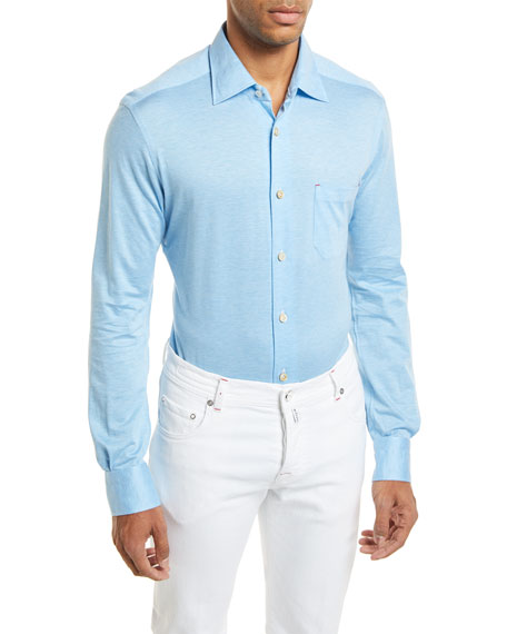 Kiton Woven Long-Sleeve Knit Shirt, Light Blue