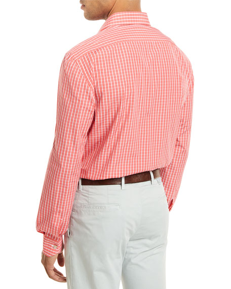 Check Long-Sleeve Shirt, Coral