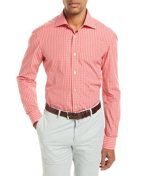 Kiton Check Long-Sleeve Shirt, Coral