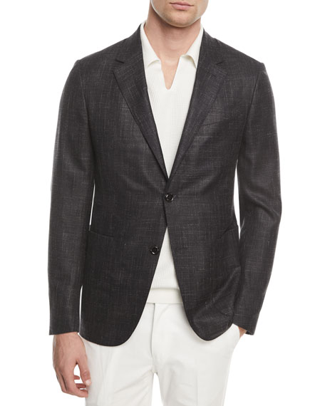 Ermenegildo Zegna Heathered Wool Two-Button Blazer