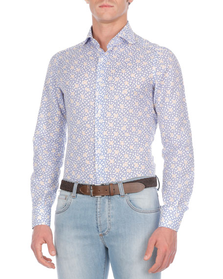 Circle-Print Cotton-Blend Sport Shirt