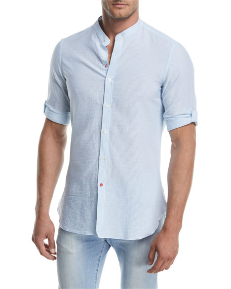 Isaia Mandarin-Collar Striped Seersucker Shirt