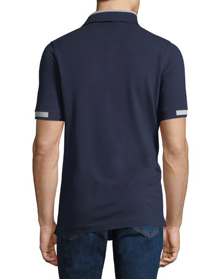 Men's Pique Knit Cotton Polo Shirt, Navy Blue