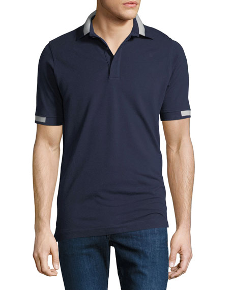 Kiton Men's Piqu?? Knit Cotton Polo Shirt, Navy