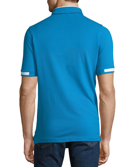 Men's Pique Knit Cotton Polo Shirt, Aqua Blue