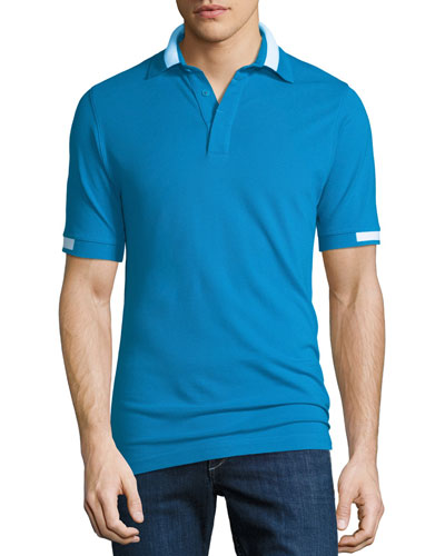 Men's Piqué Knit Cotton Polo Shirt, Aqua Blue