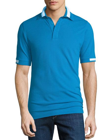 Men's Pique Knit Cotton Polo Shirt, Aqua Blue