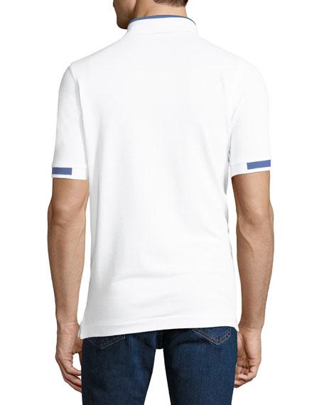 Men's Piqué Knit Cotton Polo Shirt, White