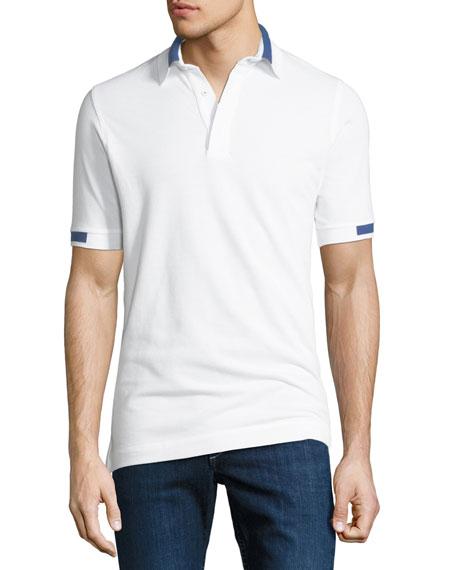 Kiton Men's Piqu?? Knit Cotton Polo Shirt, White
