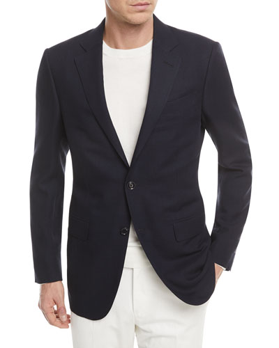 Wool Houndstooth Two-Button Jacket
