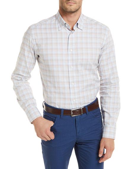 Brioni Plaid Long-Sleeve Shirt, Tan
