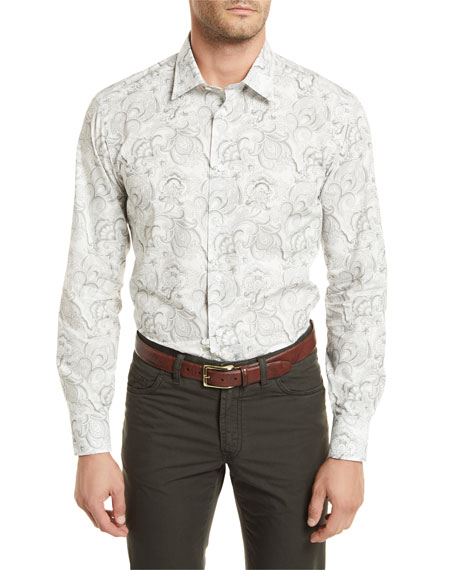 Brioni Paisley-Print Long-Sleeve Shirt