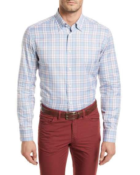 Brioni Plaid Long-Sleeve Shirt, Light Blue