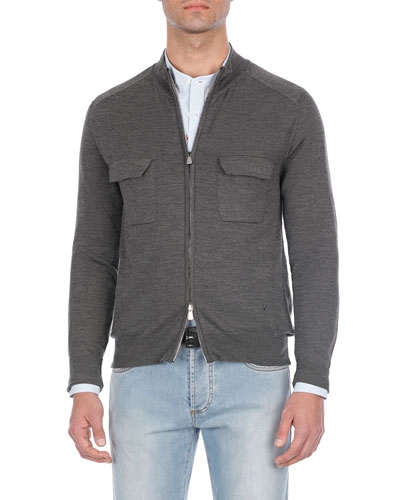 Heathered Wool Two-Way Zip Sweater