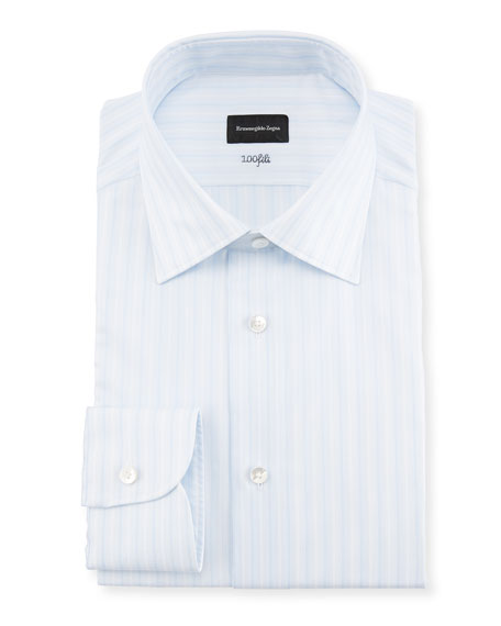 Ermenegildo Zegna Multi-Stripe Cotton Dress Shirt