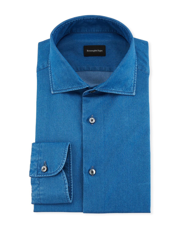 Ermenegildo Zegna Denim Chambray Dress Shirt Neiman Marcus