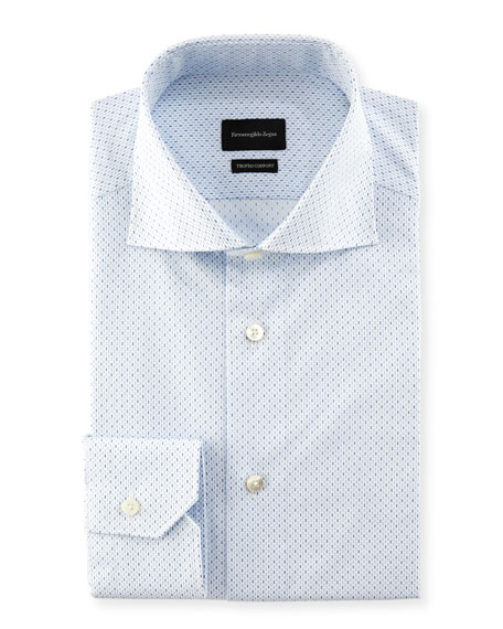 Ermenegildo Zegna Trofeo Comfort Micro-Print Cotton Dress Shirt
