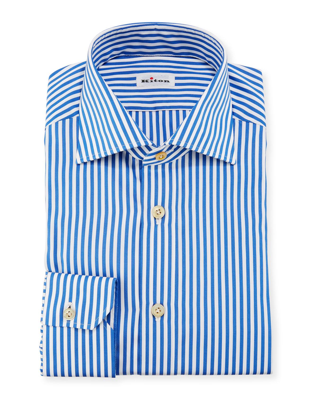 Kiton Bengal Stripe Dress Shirt Bluewhite Neiman Marcus