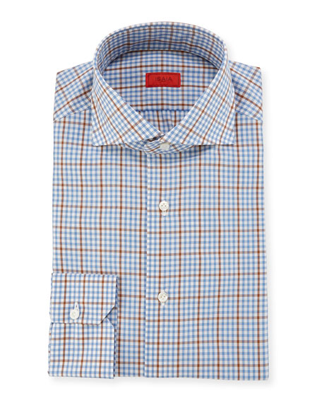 Isaia Grid-Check Woven Dress Shirt