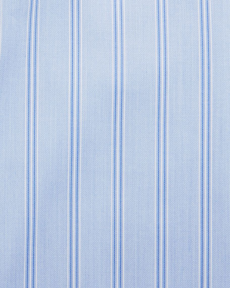 Striped Dress Shirt with Contrast Collar & French Cuffs, Blue