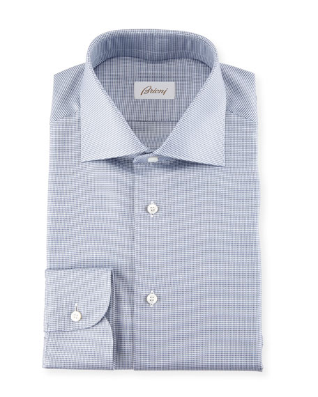 Brioni Micro Check Dress Shirt, Blue