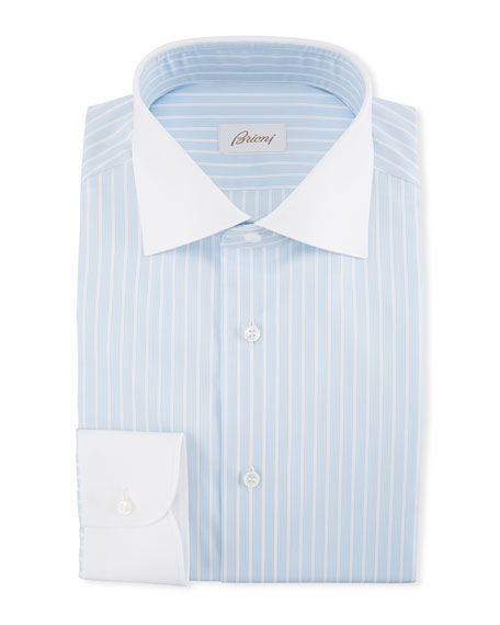 Brioni Striped Dress Shirt with Contrast Collar &
