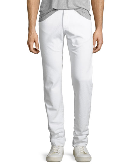 L'Homme Slim-Leg Denim Jeans, Blanc