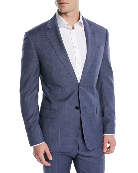 Postal Windowpane Two-Piece Wool Suit