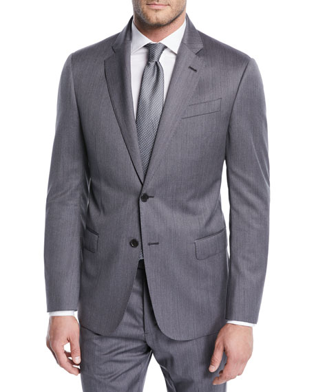 Striped Twill Two-Piece Wool Suit