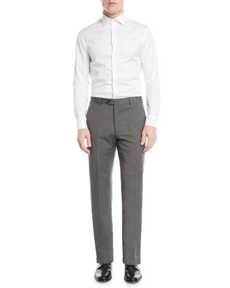 Textured Wool Flat-Front Trousers