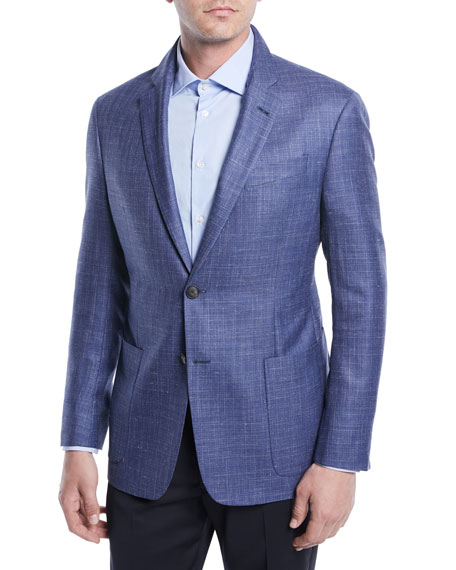 Emporio Armani Crosshatch Wool-Blend Blazer
