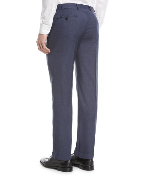Textured Wool Flat-Front Trousers, Blue