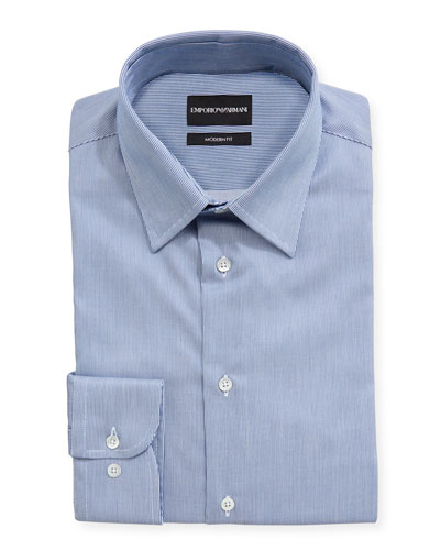 Modern Fit Fine Stripe Barrel-Cuff Dress Shirt
